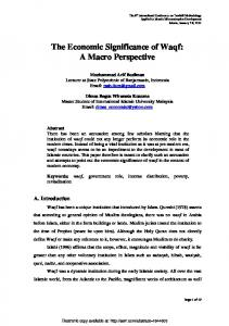 The Economic Significance of Waqf - SSRN papers