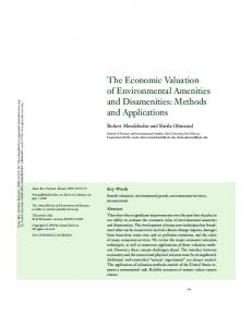 The Economic Valuation of Environmental Amenities and Disamenities