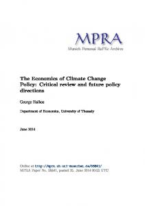 The Economics of Climate Change Policy - Munich Personal RePEc