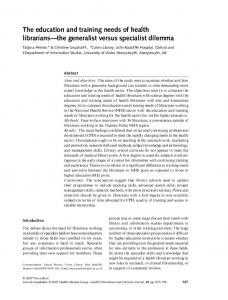 The education and training needs of health ... - Wiley Online Library