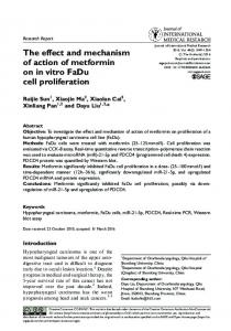 The effect and mechanism of action of metformin ... - Semantic Scholar