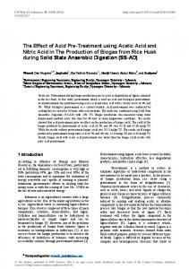 The Effect of Acid Pre-Treatment using Acetic Acid and Nitric Acid in