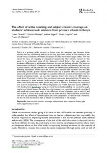 The effect of active teaching and subject content ... - Ingenta Connect
