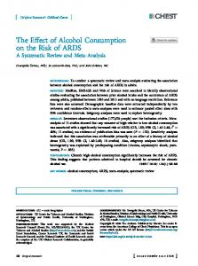 The Effect of Alcohol Consumption on ... - CHEST Journal