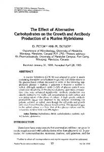 The effect of alternative carbohydrates on the growth ... - Springer Link