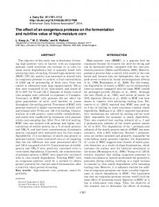 The effect of an exogenous protease on the fermentation and nutritive