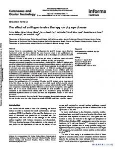 The effect of antihypertensive therapy on dry eye