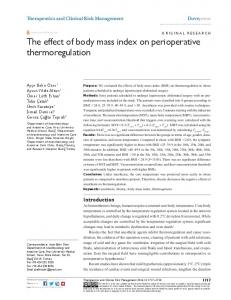 The effect of body mass index on perioperative ... - Semantic Scholar