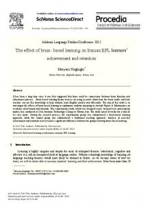 The Effect of Brain- Based Learning on Iranian EFL ...