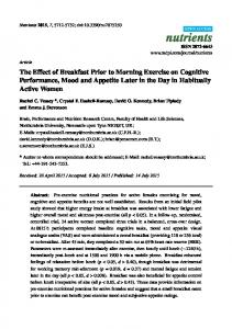 The Effect of Breakfast Prior to Morning Exercise on Cognitive ... - MDPI