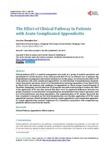 The Effect of Clinical Pathway in Patients with Acute Complicated ...