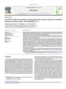 The effect of coffee consumption on food group intake