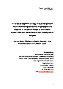 The effect of cognitive therapy versus interpersonal psychotherapy in ...