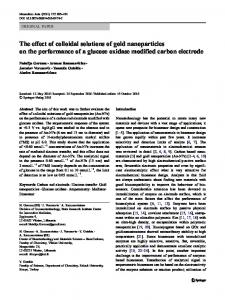 The effect of colloidal solutions of gold nanoparticles ... - Springer Link