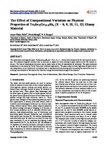 The Effect of Compositional Variation on Physical Properties of ...