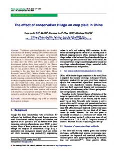 The effect of conservation tillage on crop yield in China