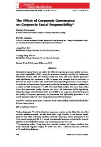 The Effect of Corporate Governance on Corporate Social Responsibility
