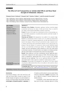 The Effect of CuO Nanoparticles on Antimicrobial Effects and Shear ...