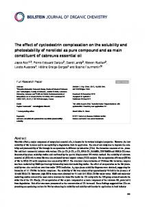 The effect of cyclodextrin complexation on the ... - Beilstein-Institut