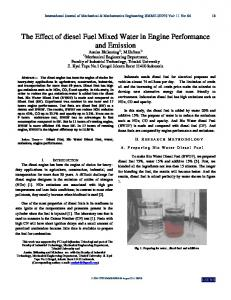 The Effect of diesel Fuel Mixed Water in Engine Performance ... - ijens