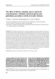 The effect of dietary selenium sources and levels on performance ...