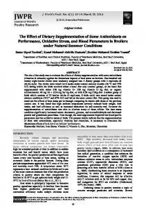 The Effect of Dietary Supplementation of Some Antioxidants on
