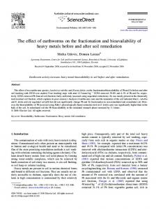 The effect of earthworms on the fractionation and bioavailability of ...