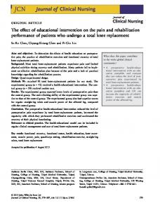 The effect of educational intervention on the ... - Wiley Online Library