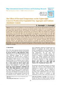 The Effect of Elevated Temperature on the Lightweight ... - DergiPark