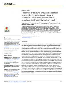 The effect of epidural analgesia on cancer progression in ... - PLOS