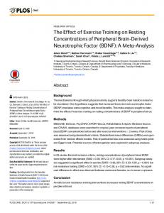 The Effect of Exercise Training on Resting Concentrations of ...