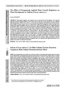 The Effect of Exogenously Applied Plant Growth Regulators on Plant ...
