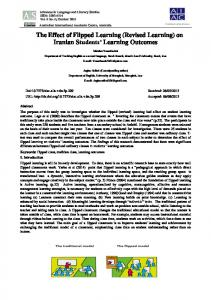The Effect of Flipped Learning (Revised Learning) on Iranian ... - Eric