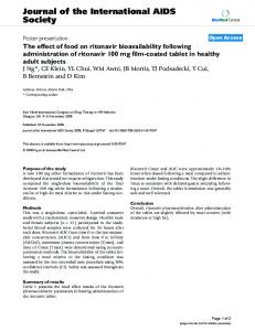 The effect of food on ritonavir bioavailability following administration of ...