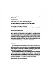 The effect of food processing on bioavailability of tomato ... - IOS Press