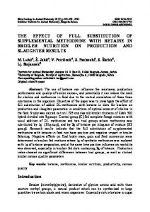 The effect of full substitution of supplemental methionine with betaine