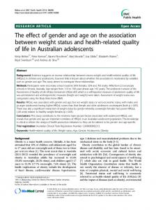 The effect of gender and age on the association between weight status ...