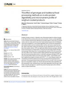 The effect of genotype and traditional food processing methods ... - Plos