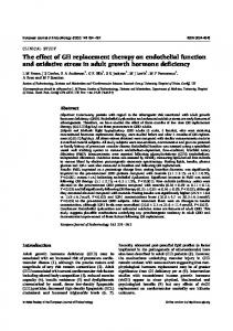 The effect of GH replacement therapy on endothelial function and ...