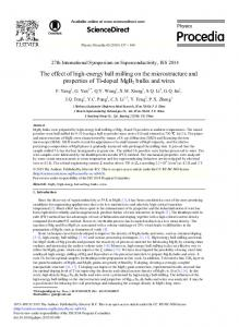 The Effect of High-energy Ball Milling on the ... - ScienceDirect