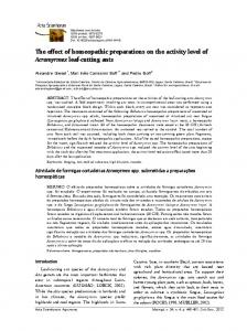 The effect of homeopathic preparations on the activity level - SciELO