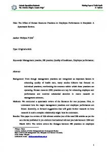 The Effect of Human Resource Practices on Employee Performance in ...