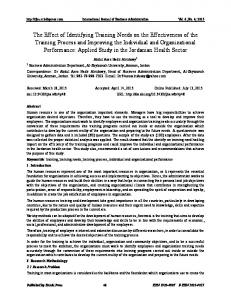 The Effect of Identifying Training Needs on the ... - Sciedu Press