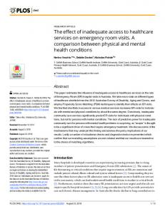 The effect of inadequate access to healthcare services on ... - PLOS