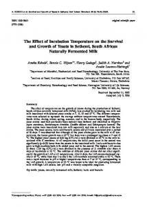 The Effect of Incubation Temperature on the Survival and ... - CiteSeerX
