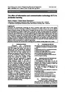 The effect of information and communication technology (ICT) in