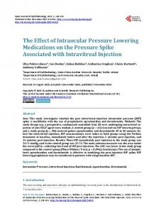 The Effect of Intraocular Pressure Lowering Medications on the ...
