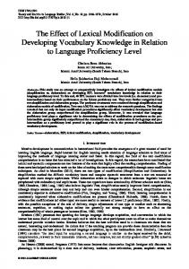 The Effect of Lexical Modification on Developing