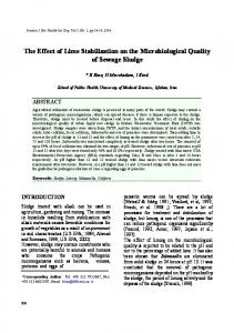 The Effect of Lime Stabilization on the Microbiological Quality of ...