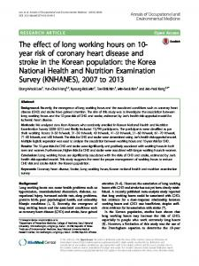 The effect of long working hours on 10-year risk of coronary heart ...
